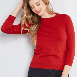 Modcloth Charter School Pullover Sweater in Red